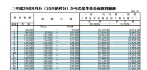 【みんなのねんきん】平成29年9月からの保険料額表