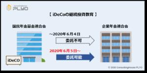 【みんなのねんきん】2020年改正 iDeCoの継続投資教育